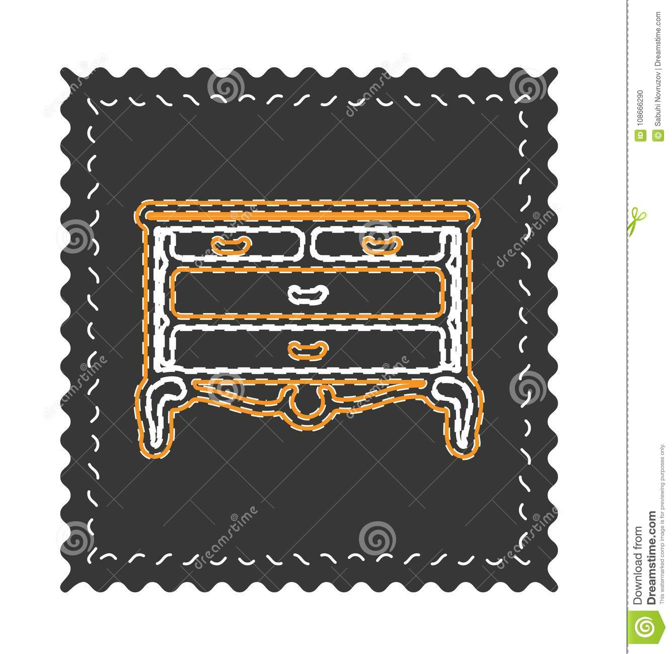 Vintage chest of drawers vector, old fancy ornament.