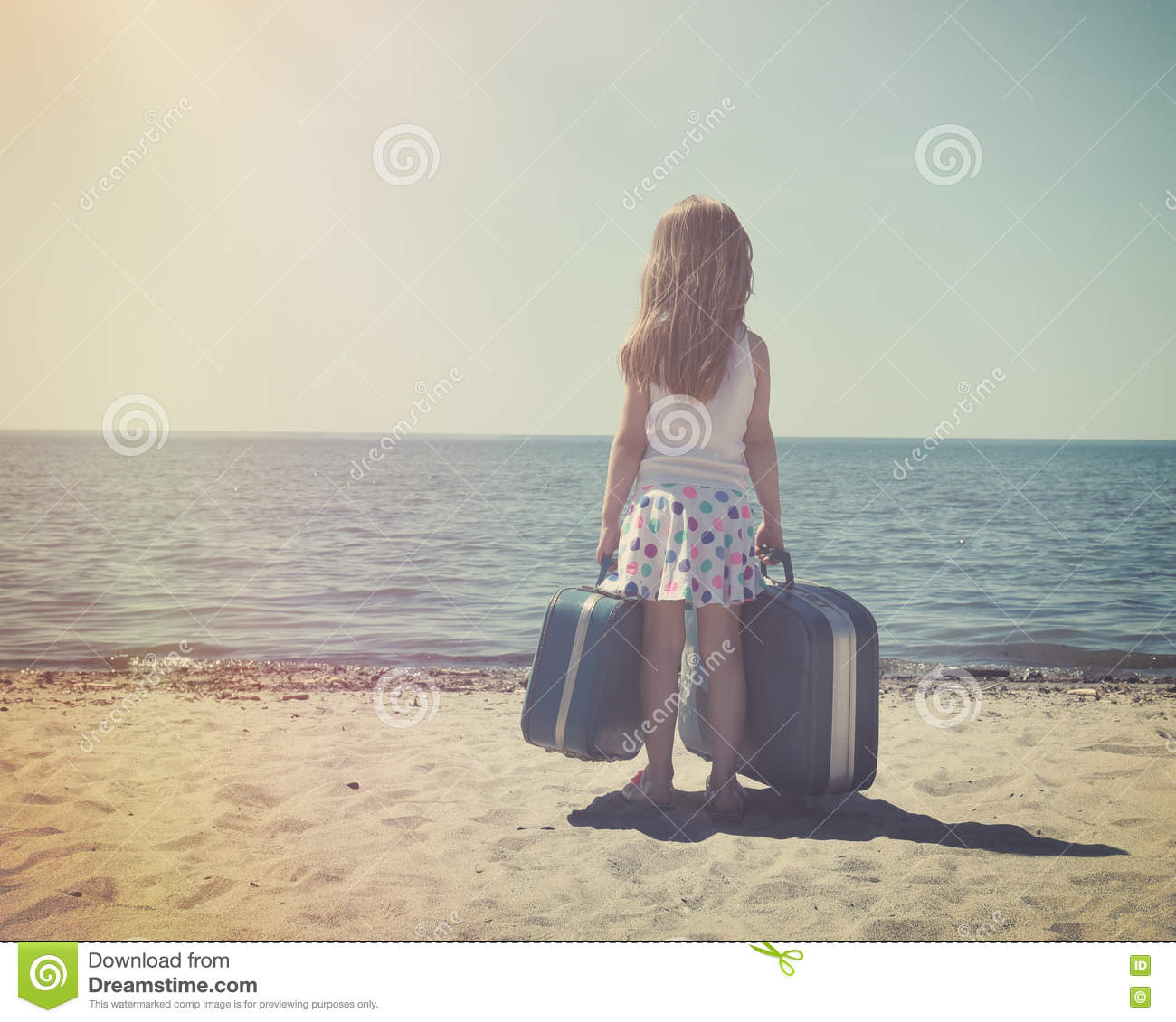 Vintage Child At Sunny Beach With Travel Suitcase Stock