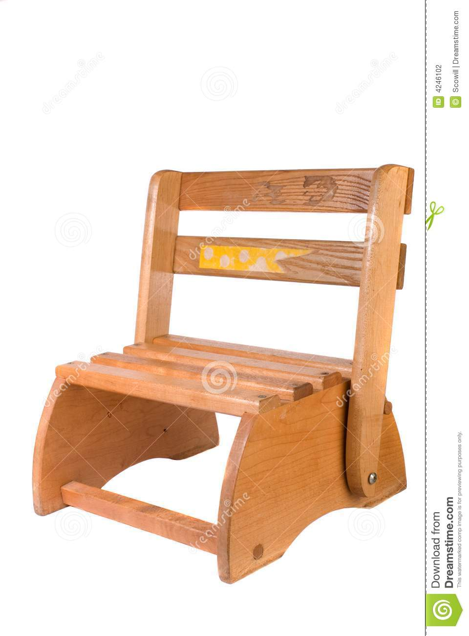 Vintage Childs Convertible Chair And Stepstool Stock Photo