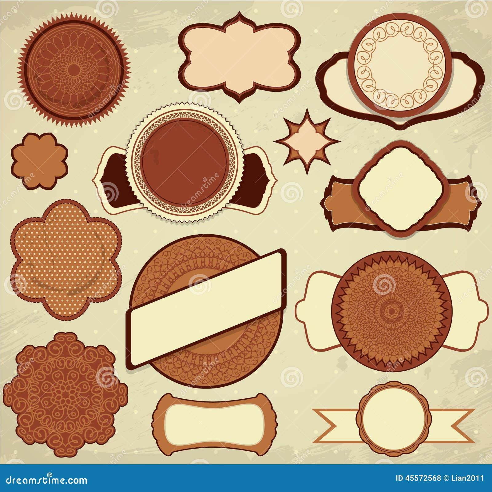 Vintage Ornamental Banner:  Vintage Chocolate Labels Set In Brown And Beige Colors