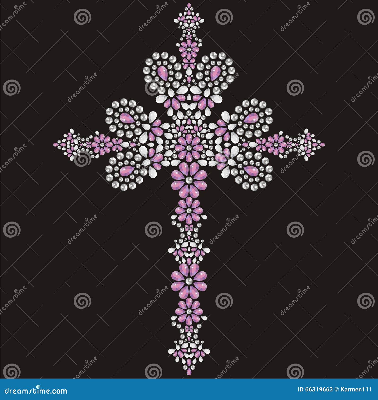 Vintage Christian Cross ornamentado bonito das pedras, da prata e do rosa brilhantes