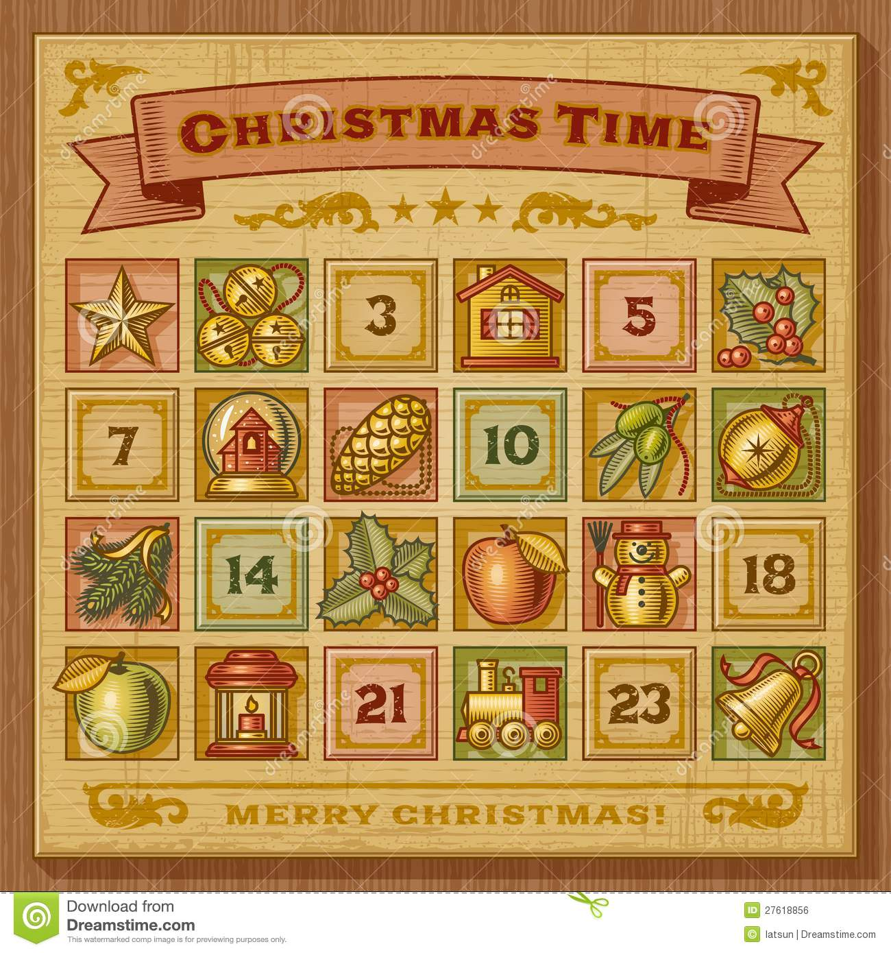 Vintage Christmas Advent Calendar Stock Vector ...