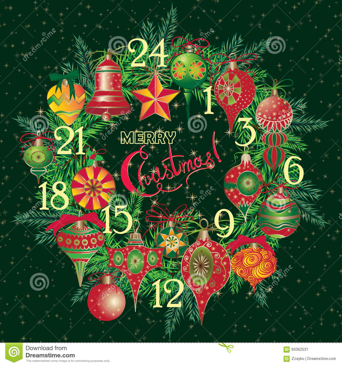 Christmas Calendar Illustration : Vintage christmas advent calendar stock illustration
