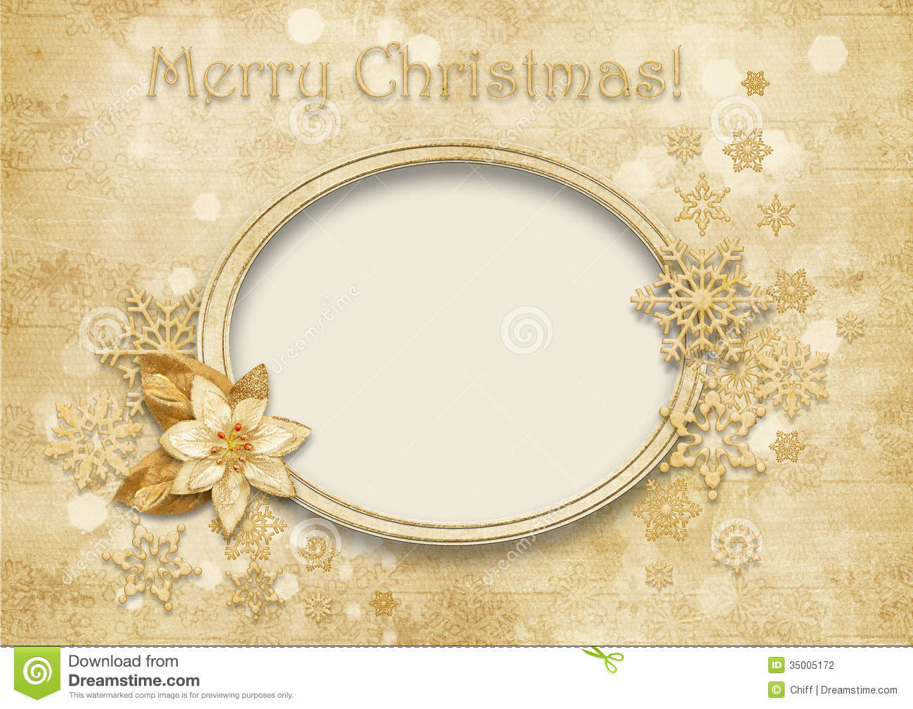 Vintage Christmas Background With Golden Decorations Stock ...