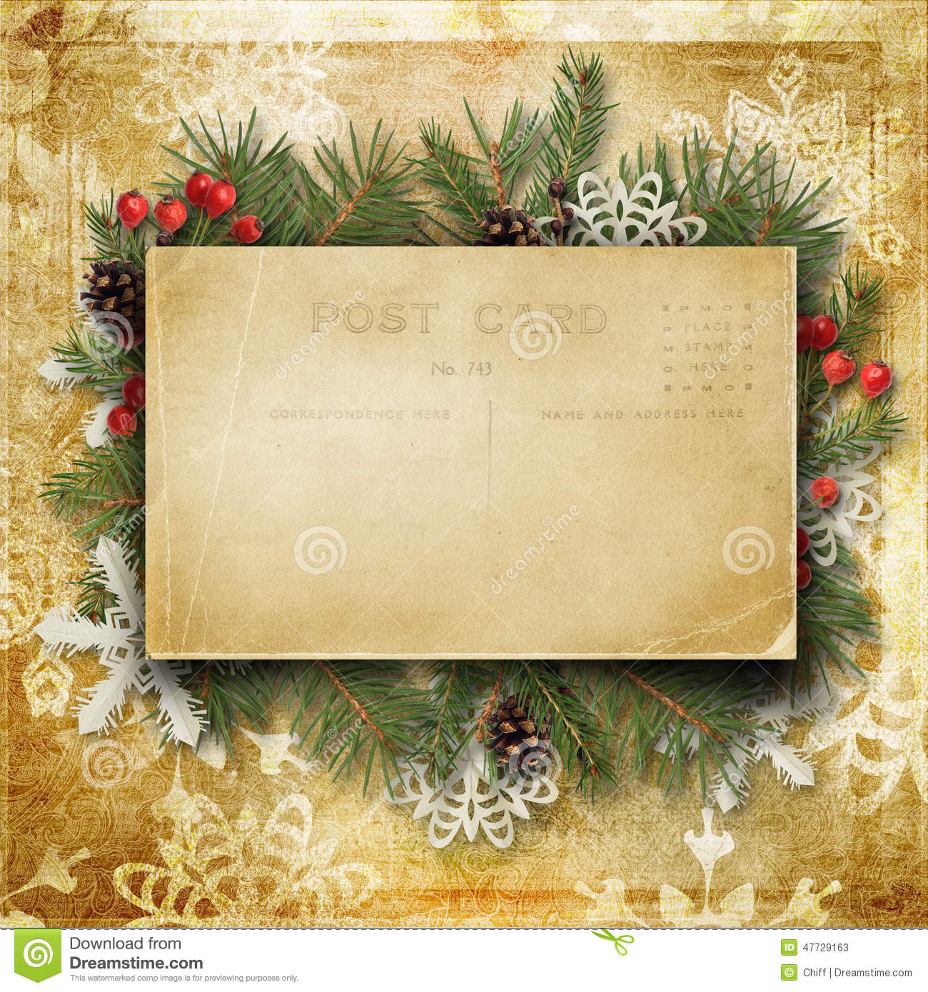 vintage christmas background with old postcard branches
