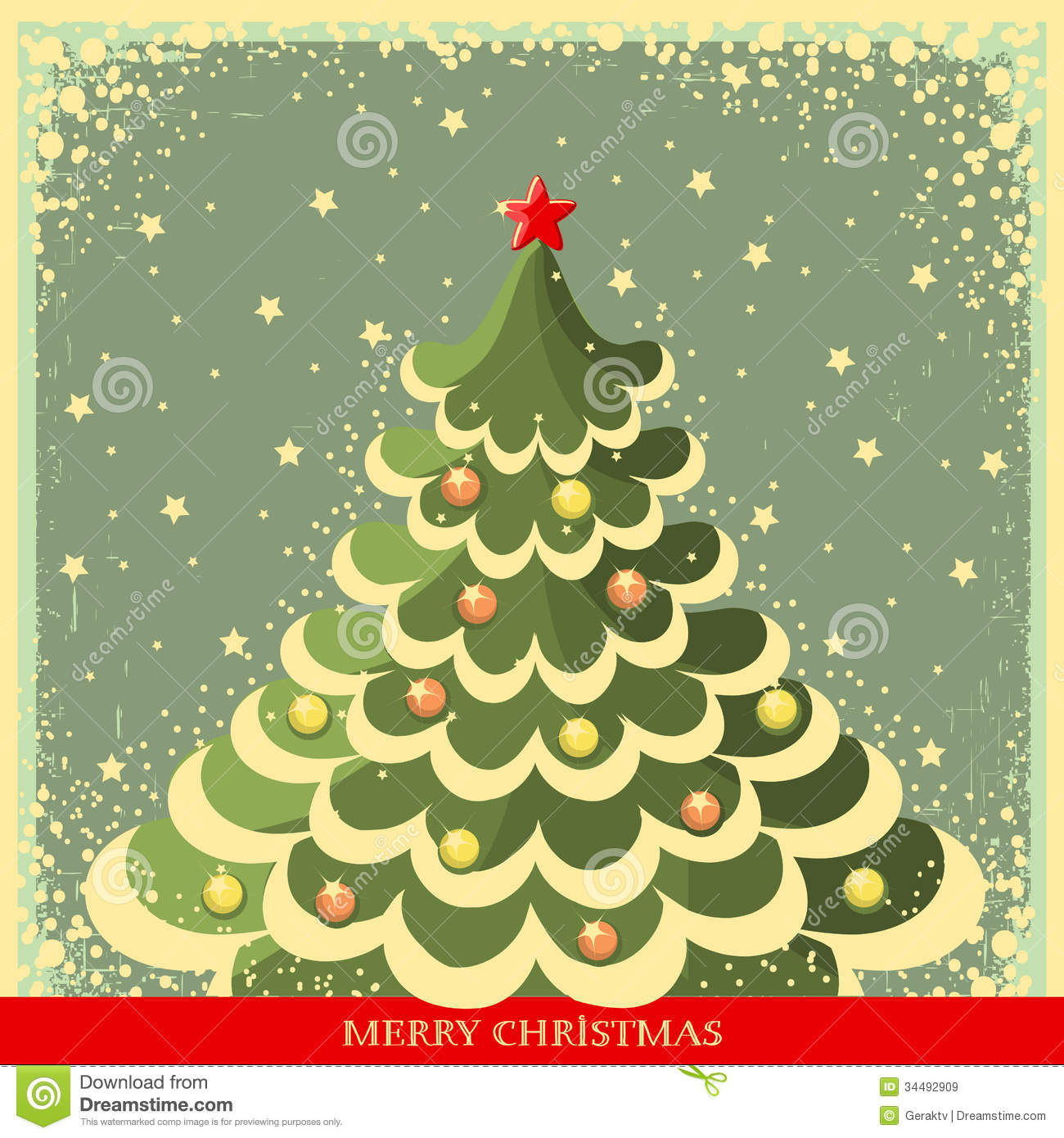 Vintage Christmas Background With Tree Stock Vector Illustration