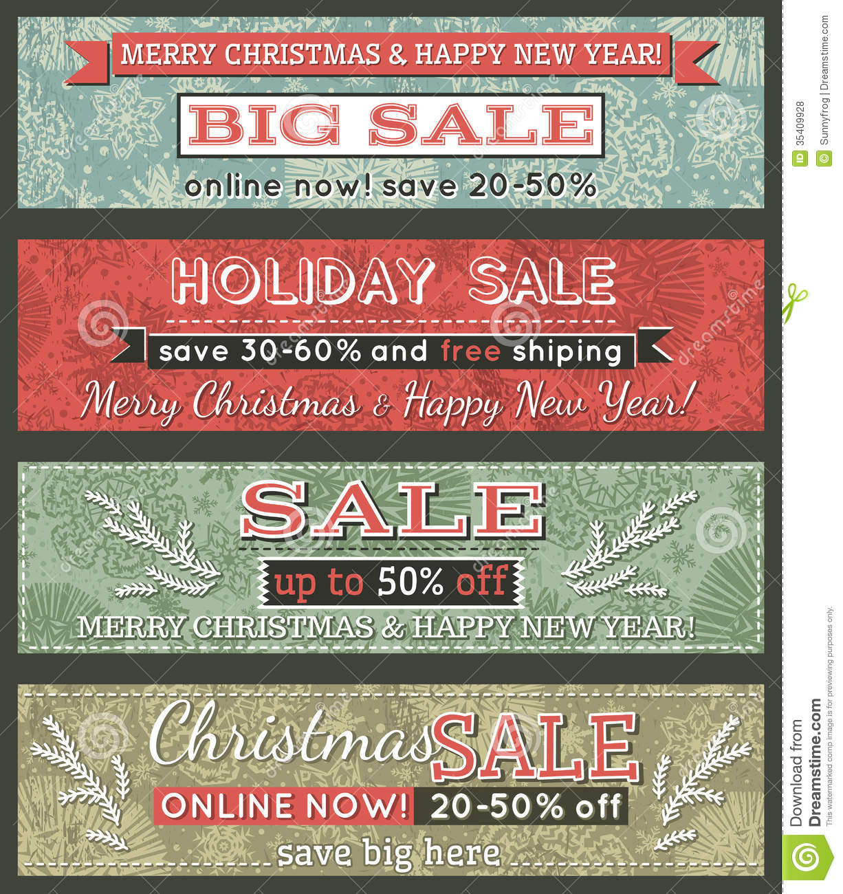 vintage christmas banners with sale offer  vector royalty