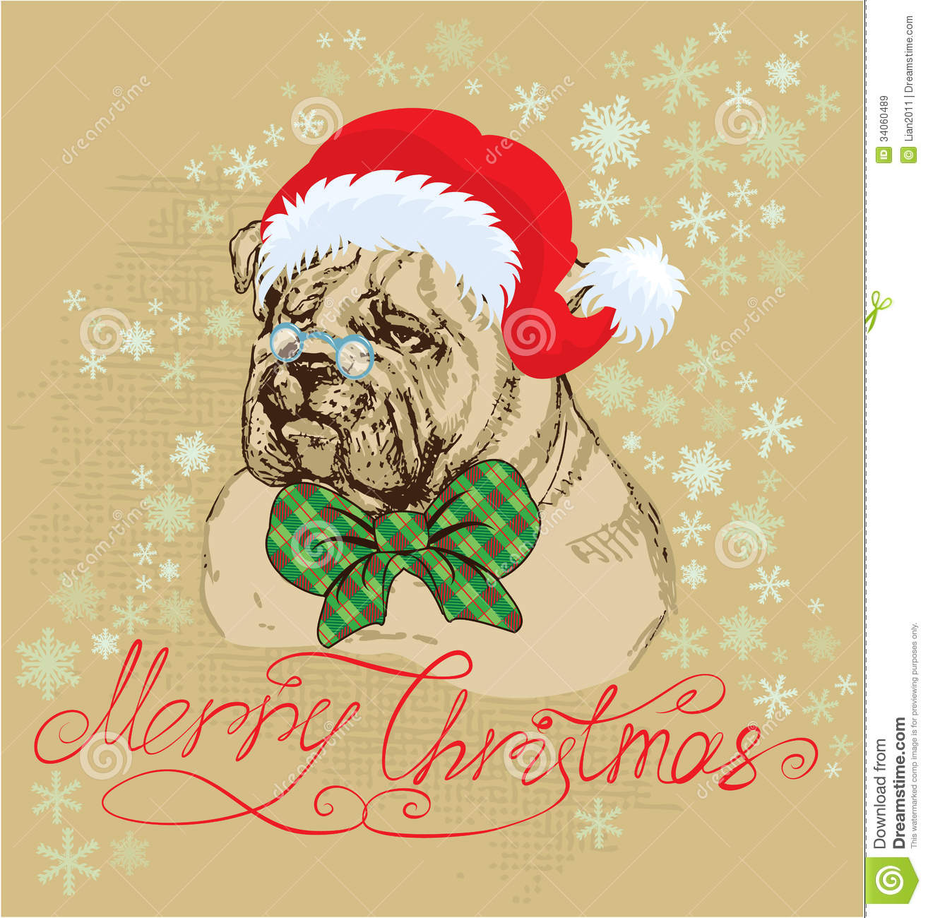 Vintage Christmas Card - Bulldog Wearing Santa Cla Stock Vector ...