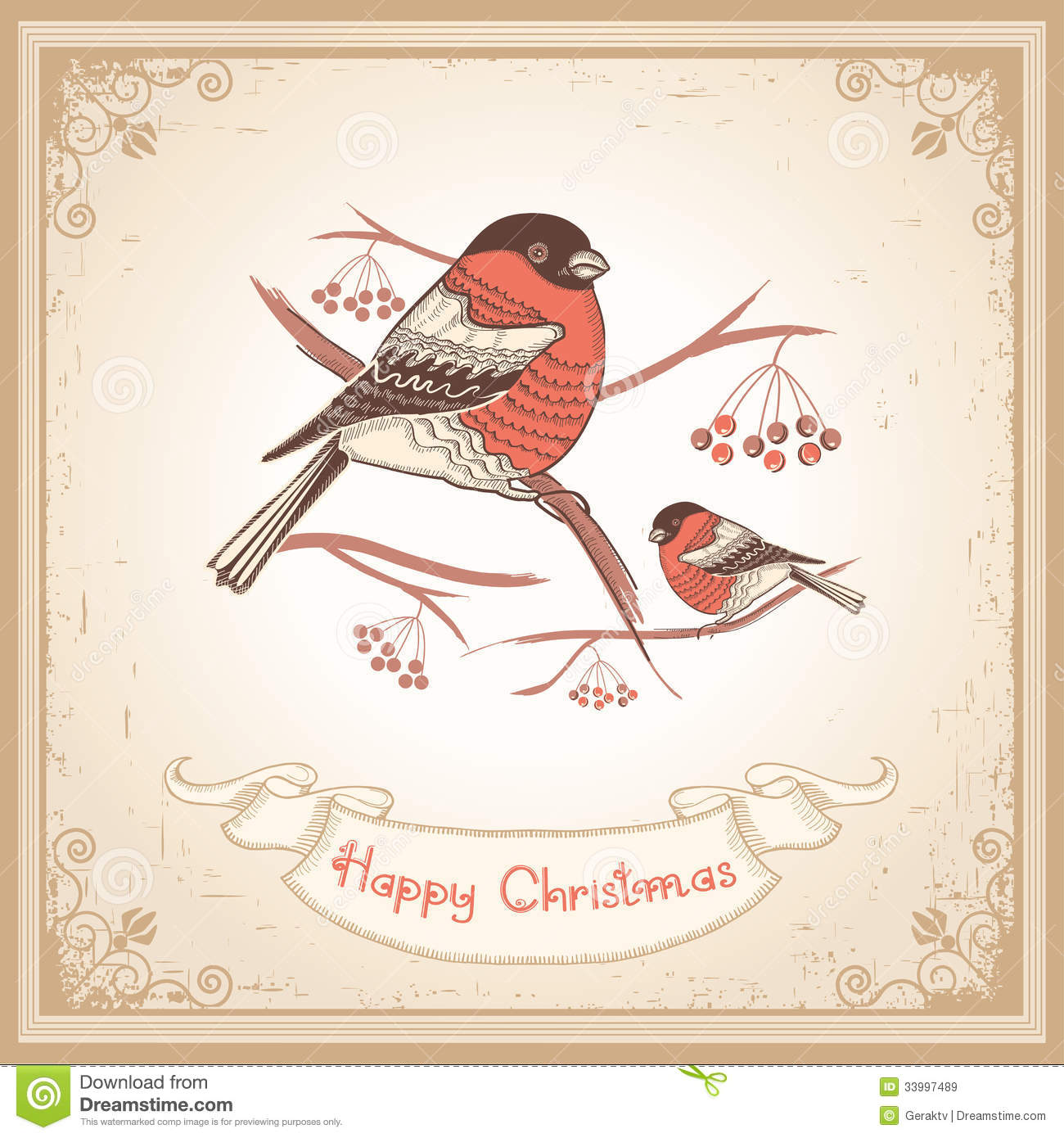 Vintage Christmas Card With Bullfinches And Scroll