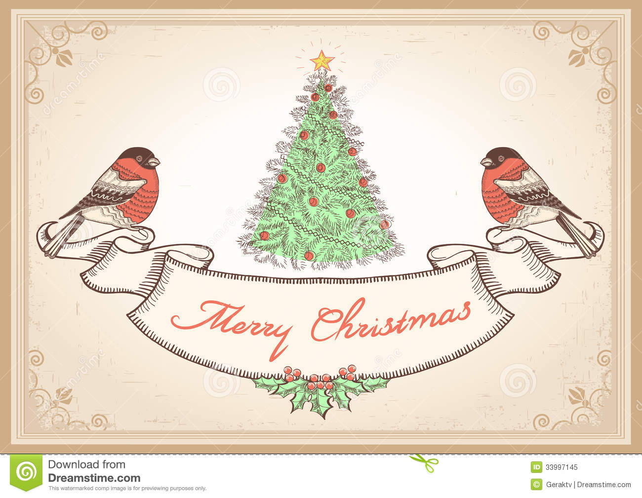 Vintage Christmas Card With Bullfinches.Vector Ill Royalty Free ...