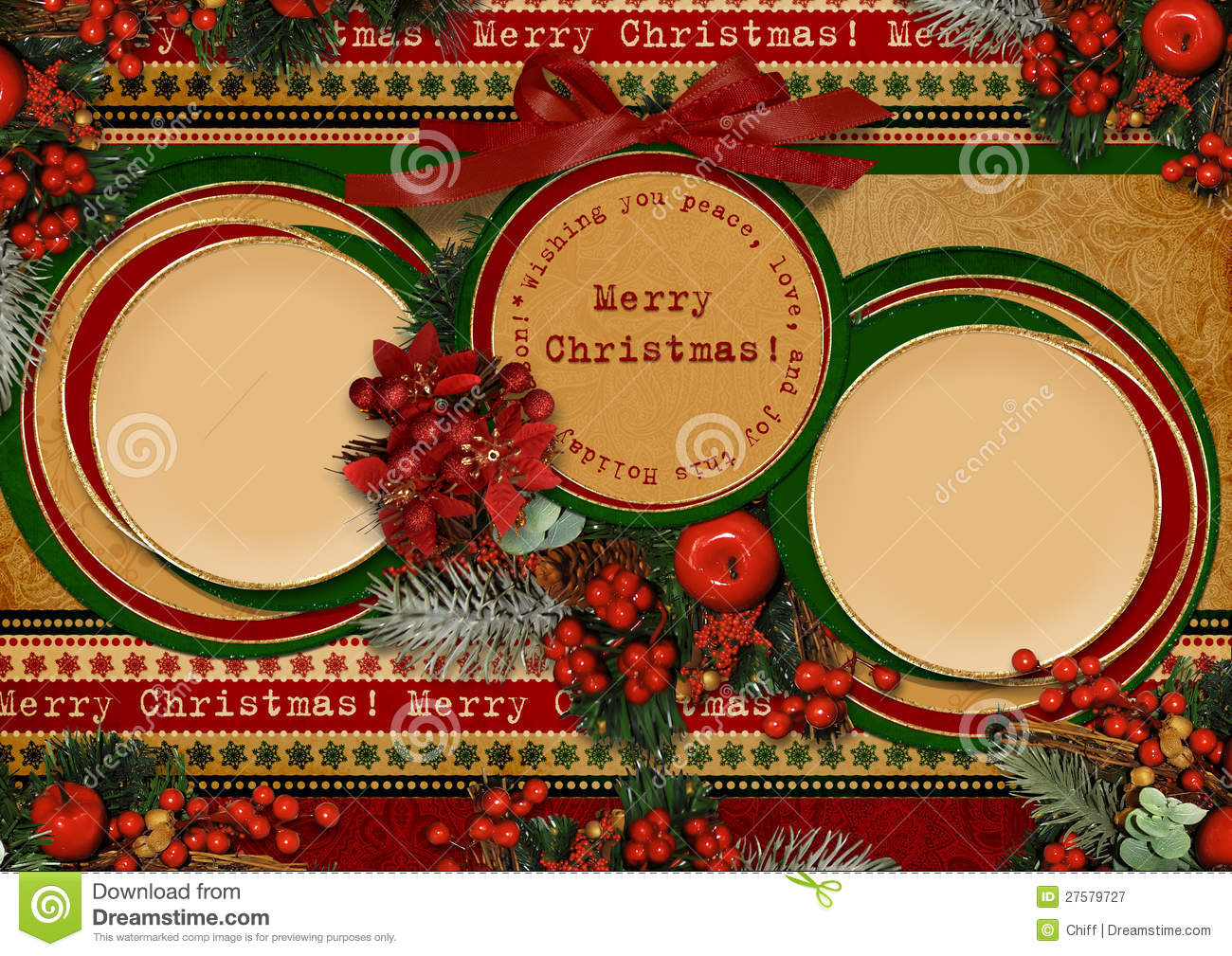 Vintage Christmas Card With Circle Frame Royalty Free Stock ...