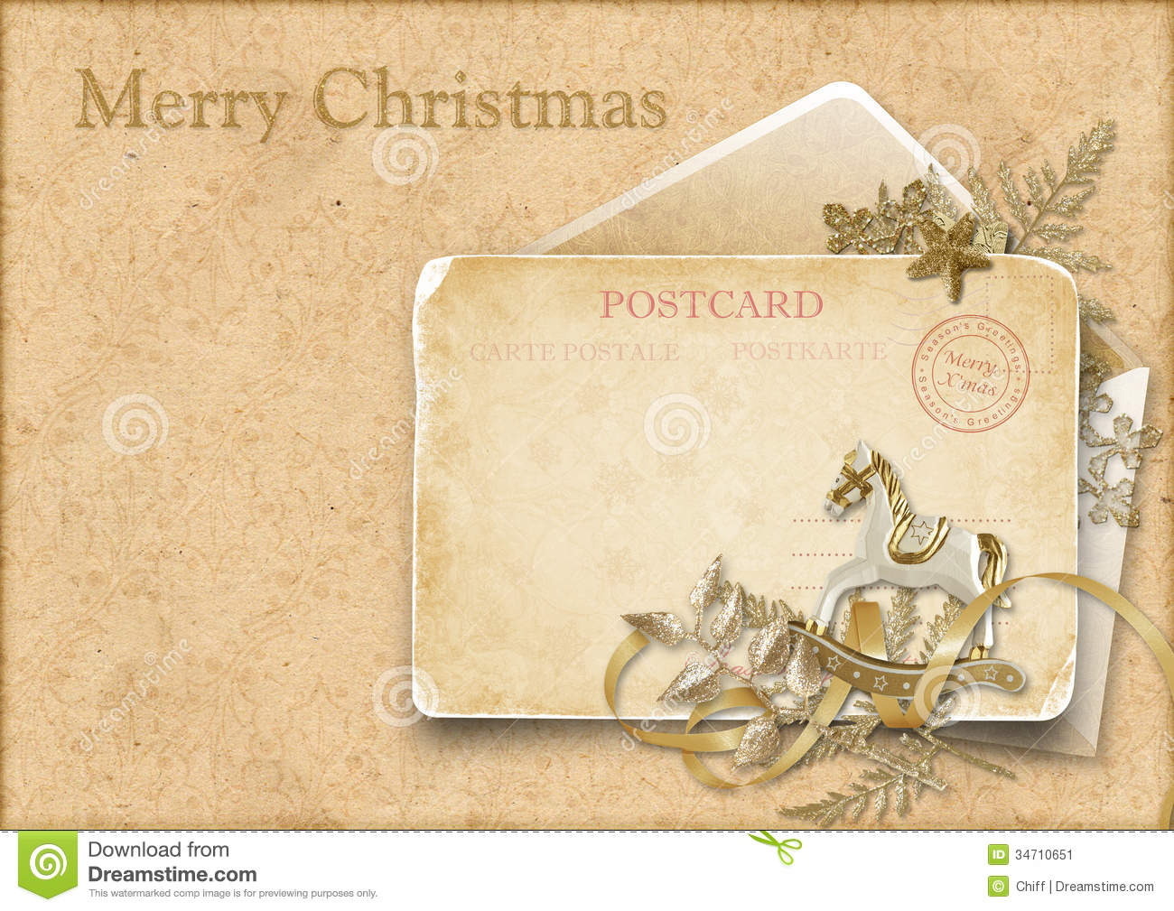 vintage christmas card with a decorative horse stock illustration