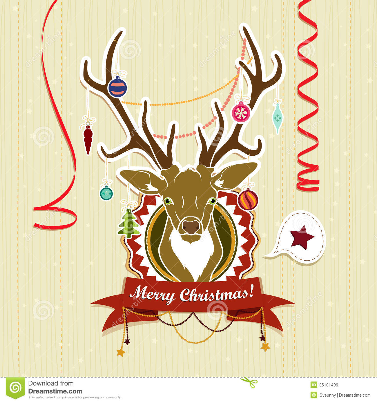 Vintage Christmas Card With Deer Royalty Free Stock Image - Image ...