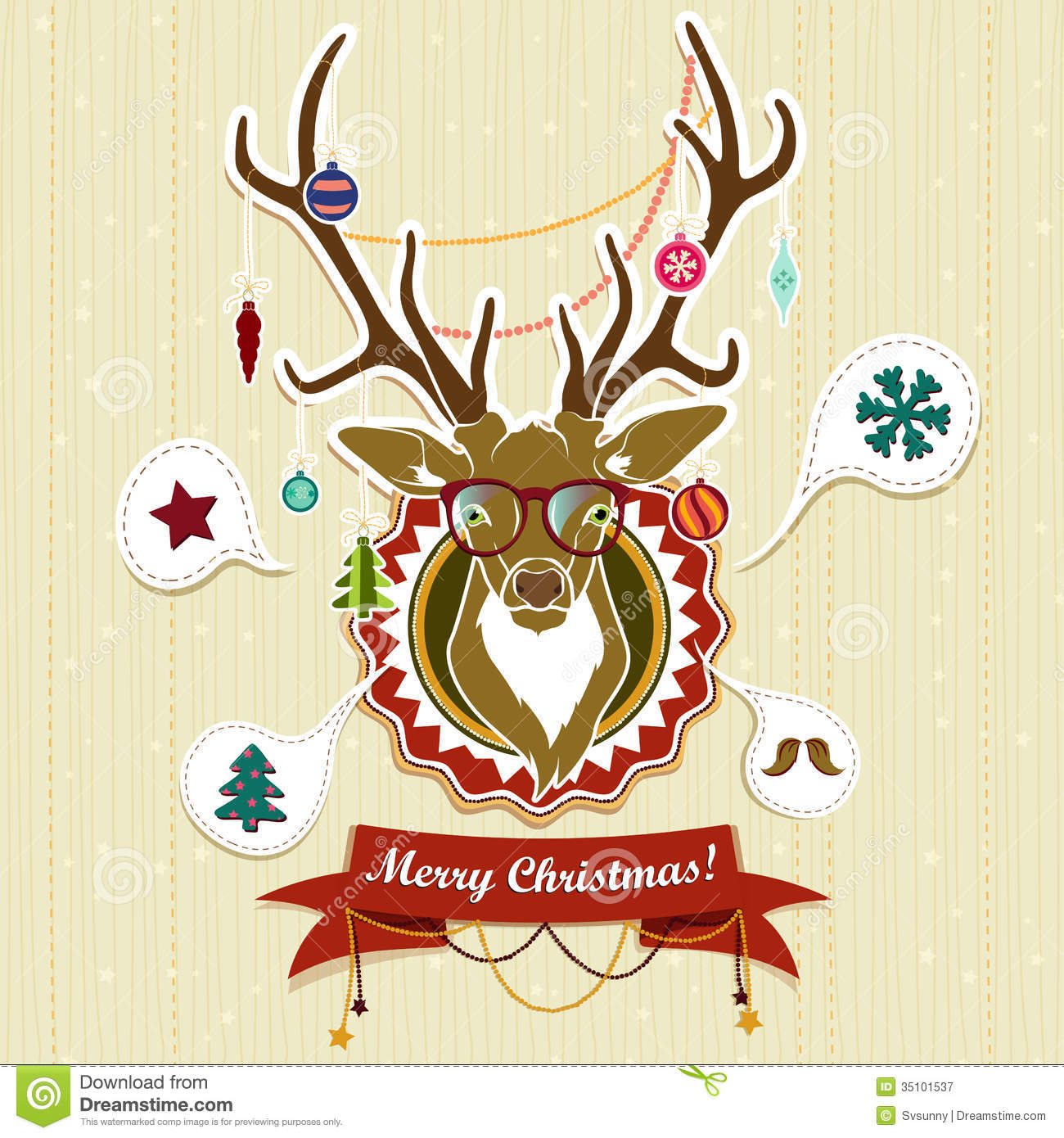 Vintage Christmas Card With Deer Stock Vector ...