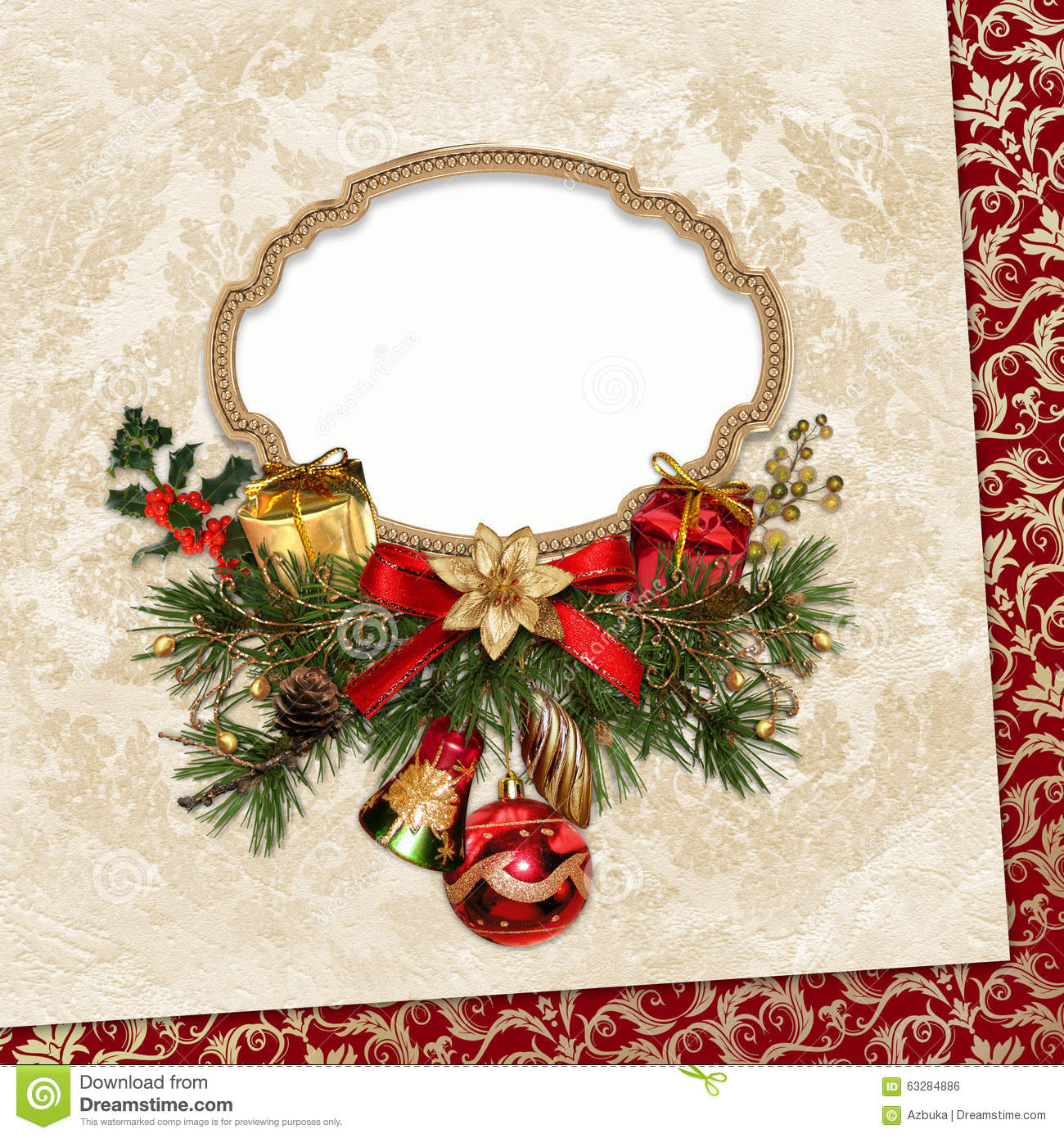 vintage christmas card with frame pine branches and
