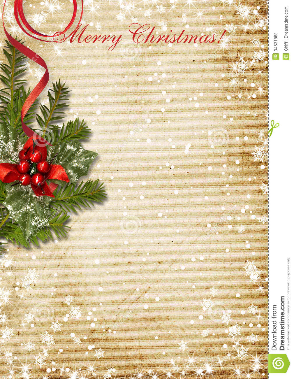 Christmas Card Background.Vintage Christmas Card With The Holly Stock Illustration