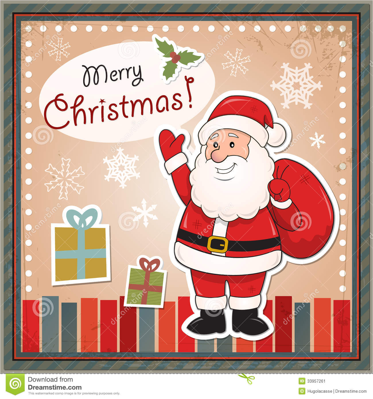 Vintage Christmas Card With Santa Claus Stock Vector Illustration