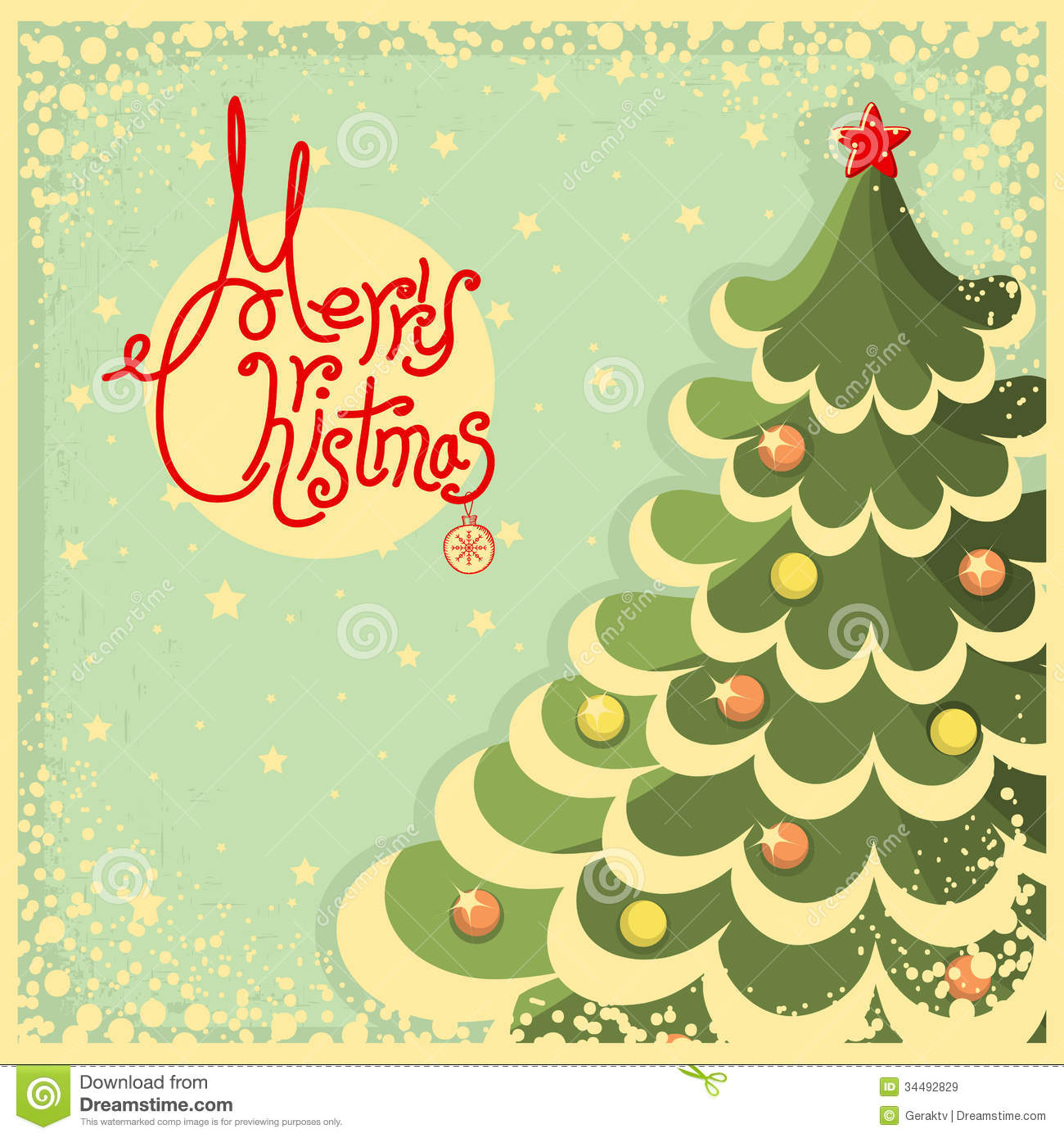 Vintage Christmas Card With Tree And Text Stock Vector ...