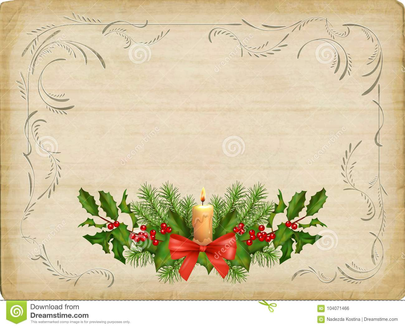 Vintage Christmas Card stock vector. Illustration of card - 104071466