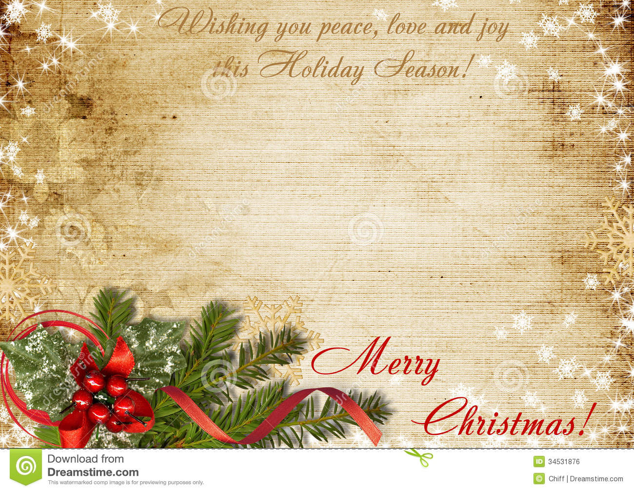 Christmas Card Background.Vintage Christmas Card With The Wishes Stock Illustration
