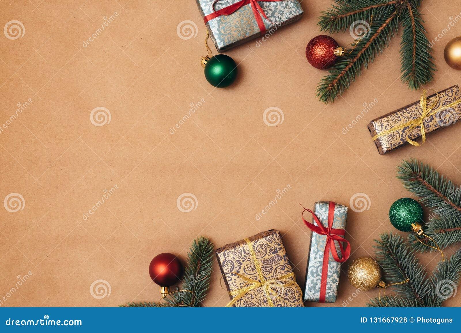 Vintage Christmas Card Xmas Decorations On Kraft Paper Background