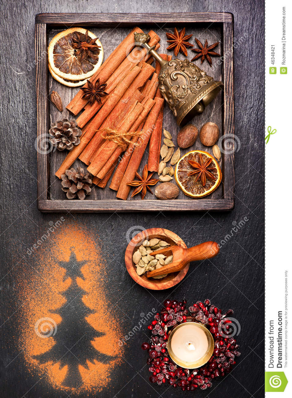 Vintage christmas cards decorations and spices for baking for Baking oranges for christmas decoration