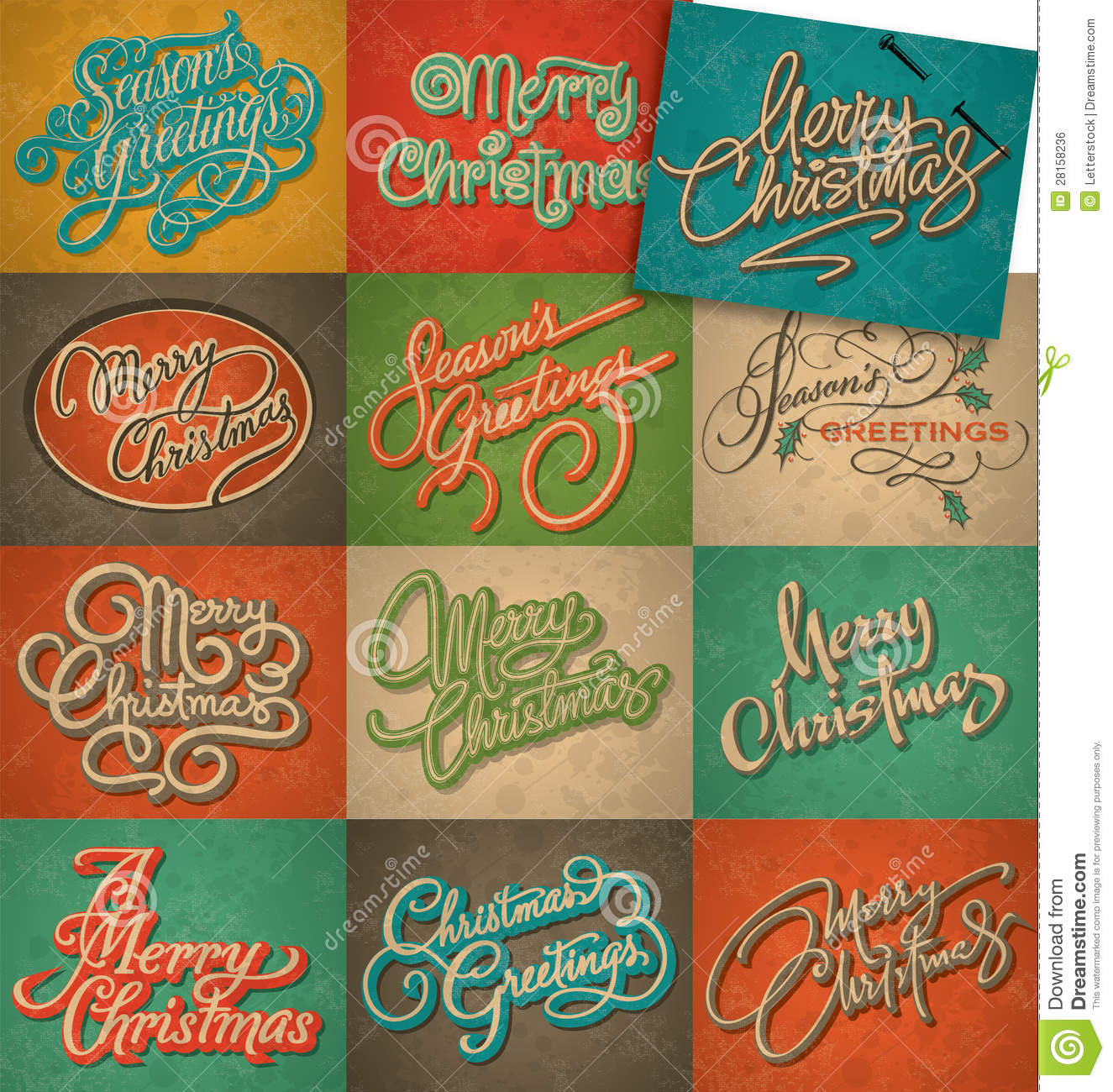 Delightful Vintage Christmas Cards Set (vector)
