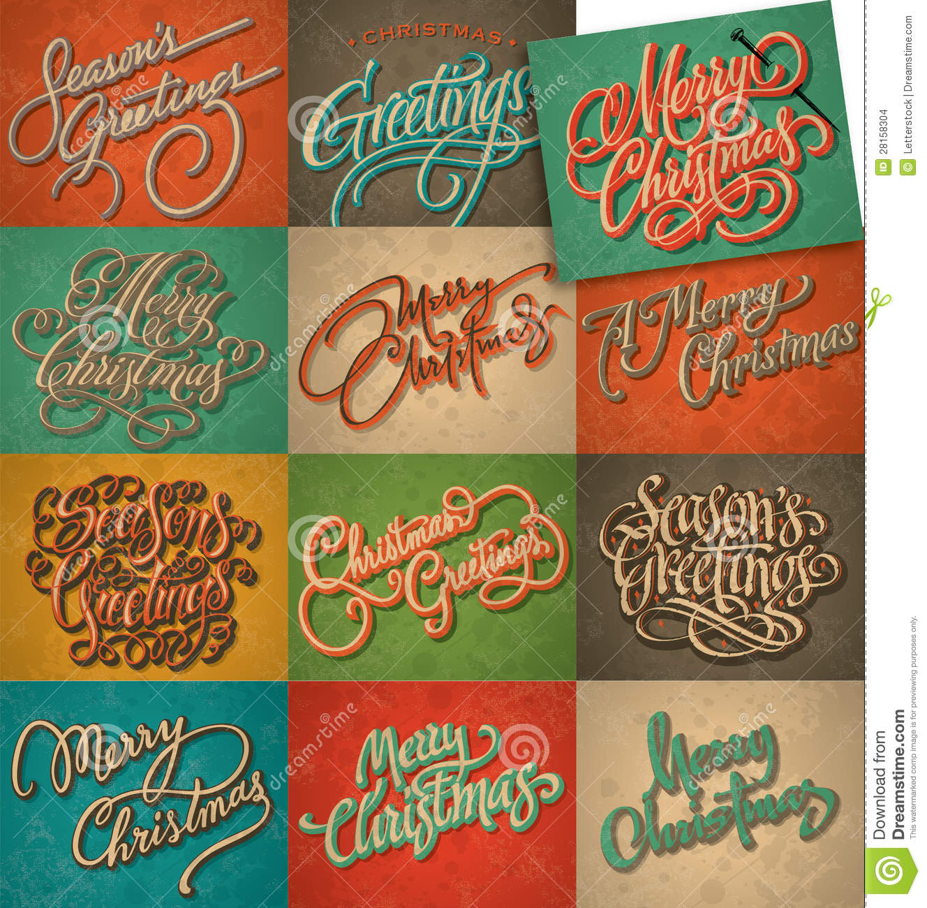 Vintage Christmas Cards Set (vector). Elegance, Ancient. Royalty Free Stock  Photo