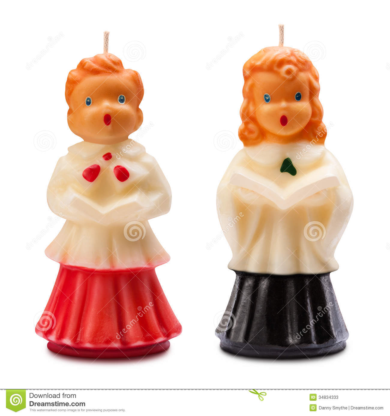 Vintage Christmas Choir Candles Isolated Stock Photos - Image ...