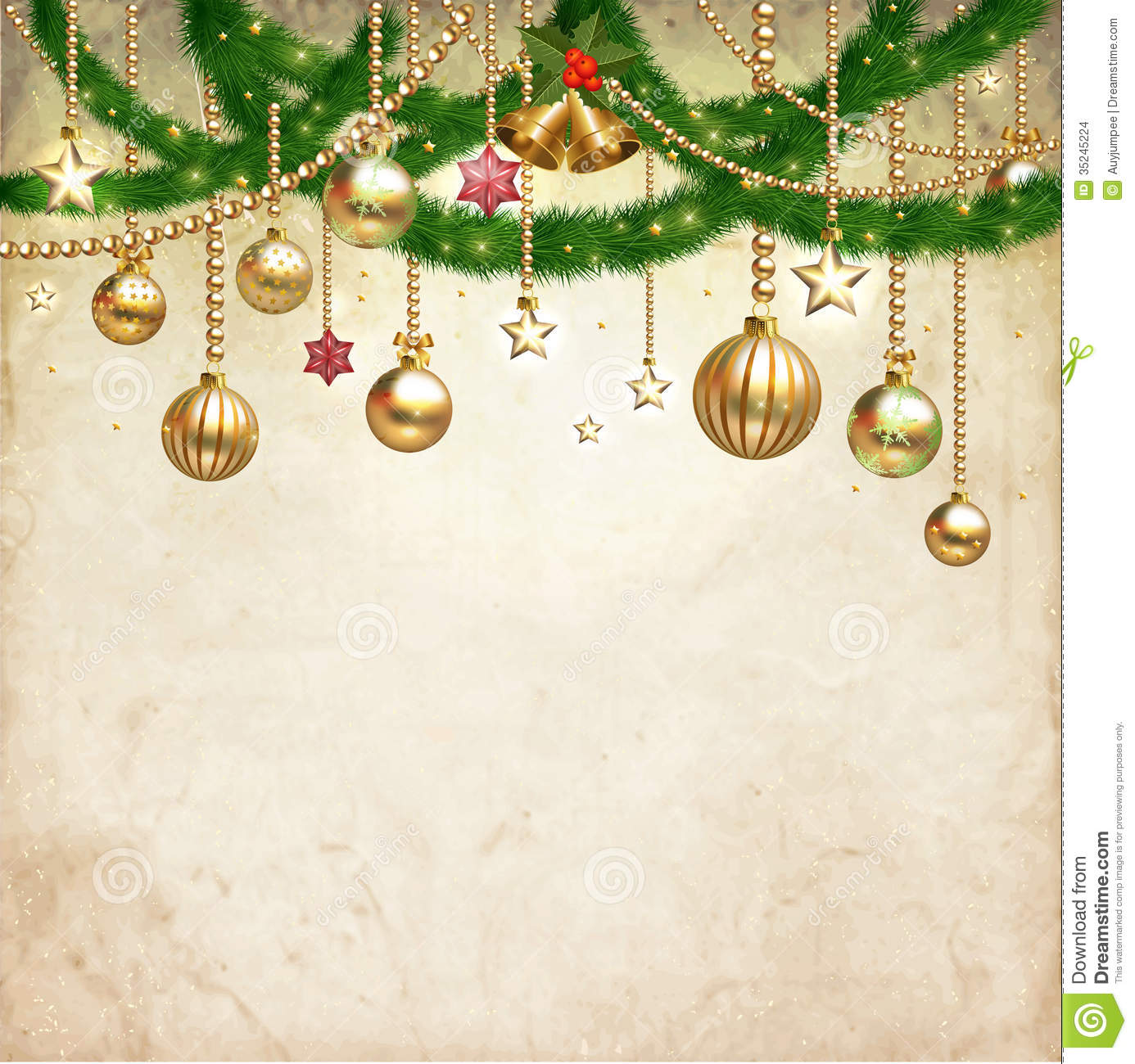 Vintage Christmas Decorate Against Old Paper Texture Background ...