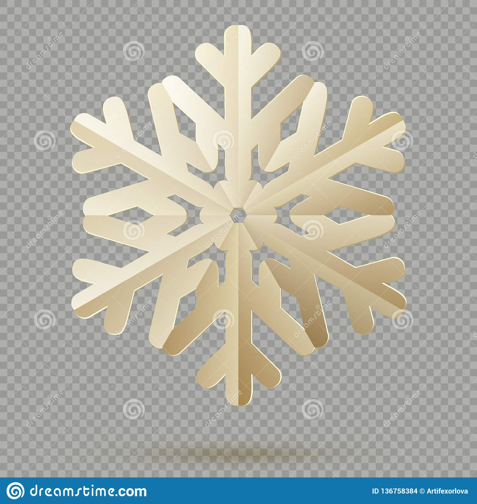 Vintage Christmas decoration paper snowflakes with shadow isolated on transparent background. EPS 10