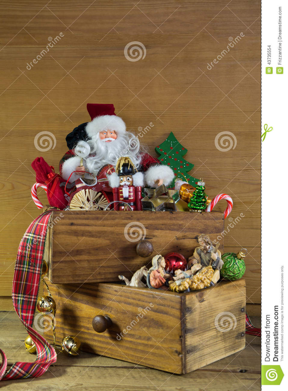 Vintage christmas decoration with santa and wood stock
