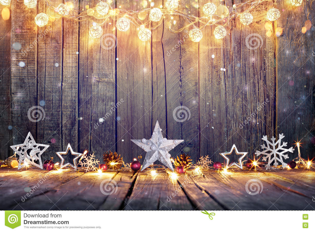 Vintage Christmas Decoration With Stars And Lights Stock