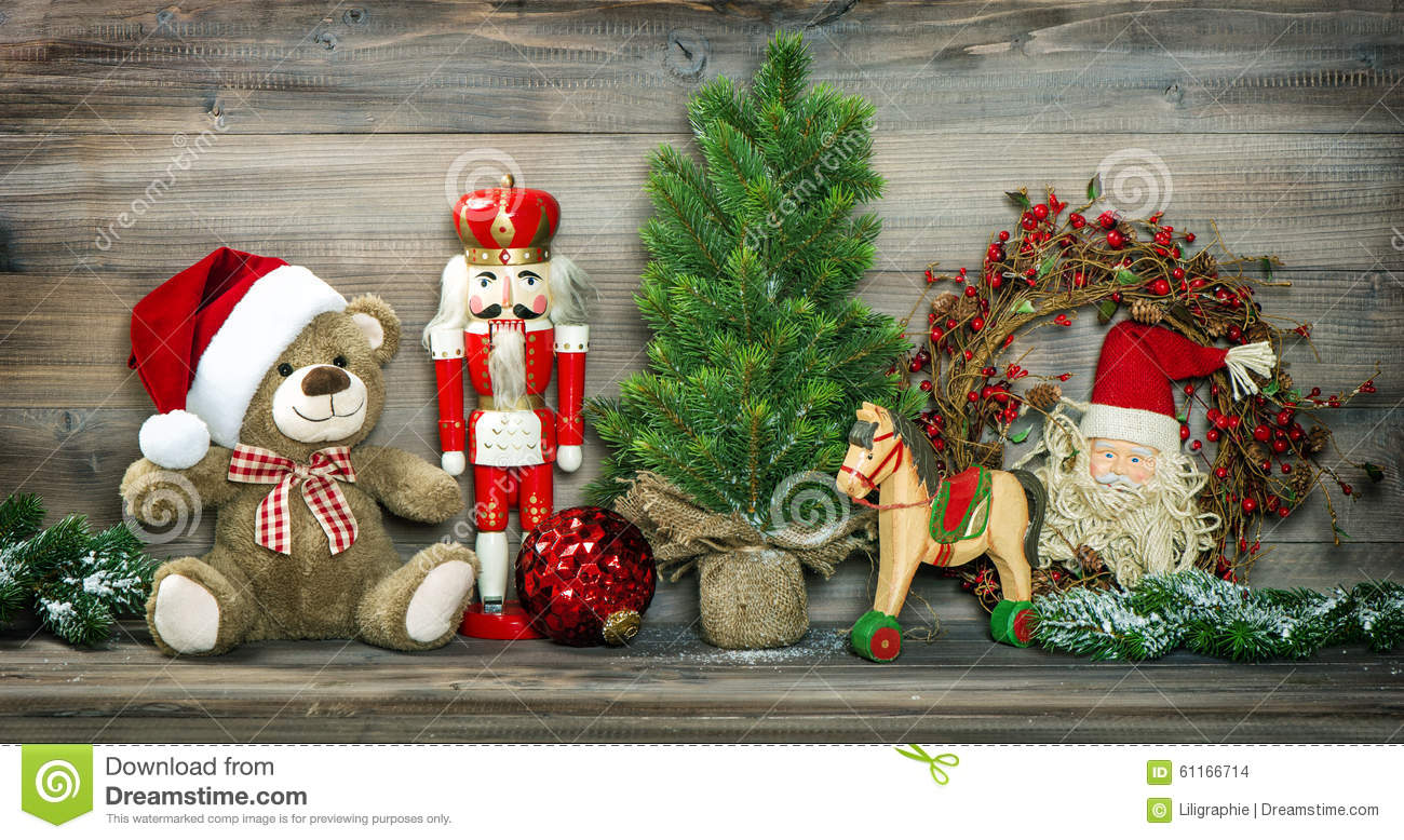 Retro Christmas Toy : Vintage christmas decoration teddy bear rocking horse
