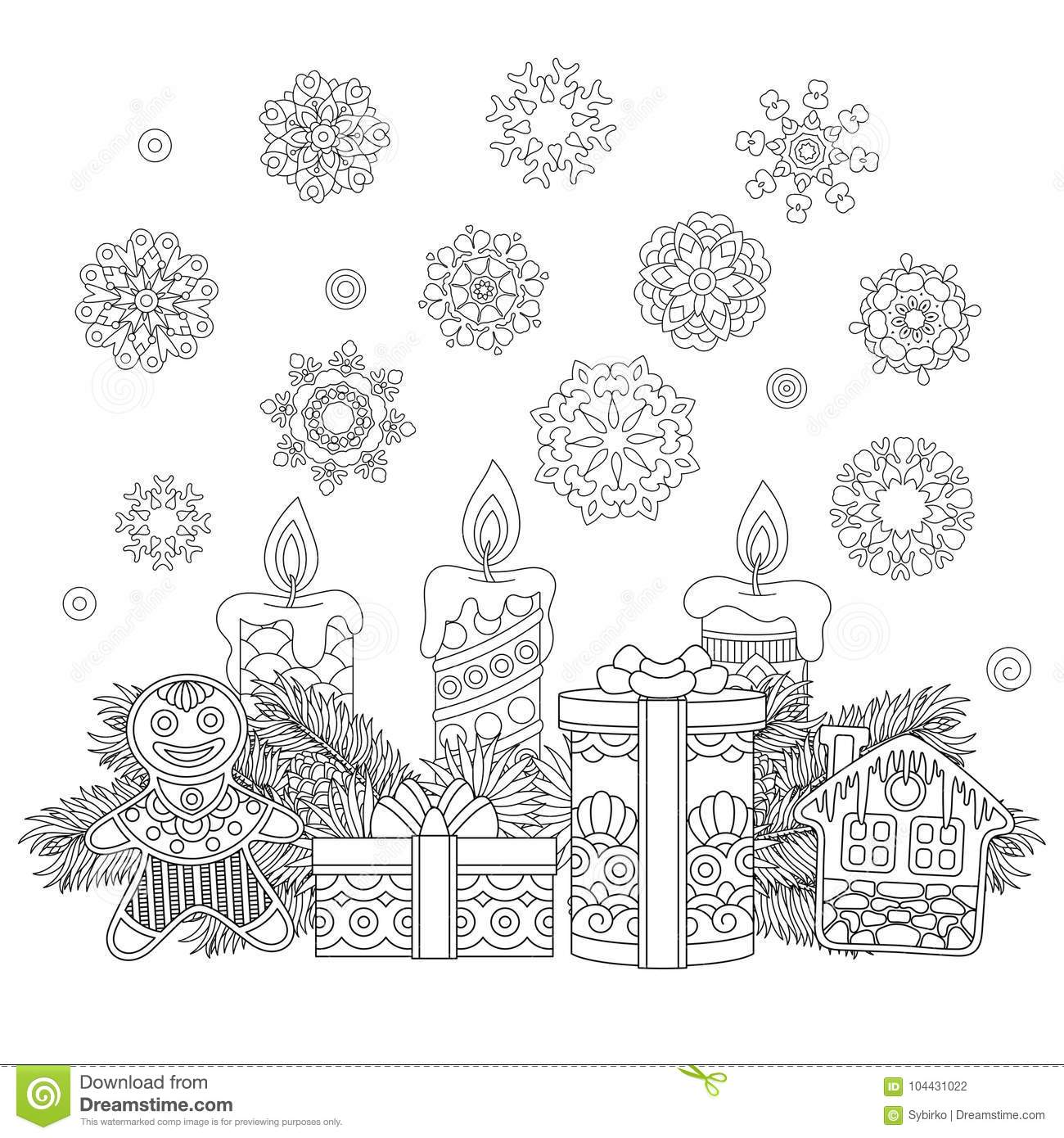 Vintage Christmas Decorations And Gifts Stock Vector - Illustration ...