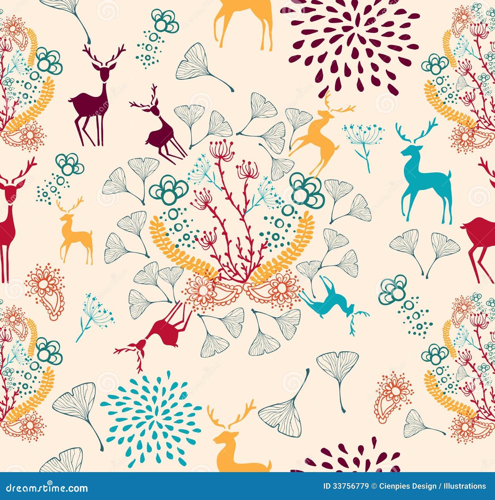 Vintage Christmas elements  reindeer and snowflakes seamless pattern    Vintage Christmas Pattern