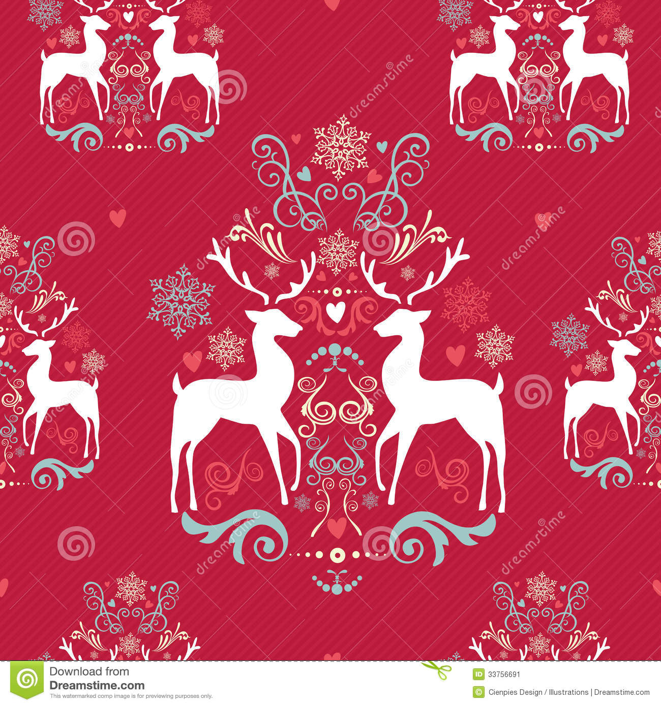 Christmas Vintage Retro Deer Seamless Pattern Background Stock ...