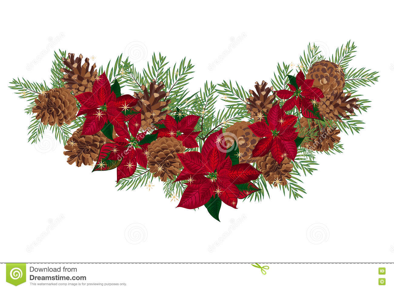 Vintage Christmas Garland With Pine Cones And Poinsettia Isolated On