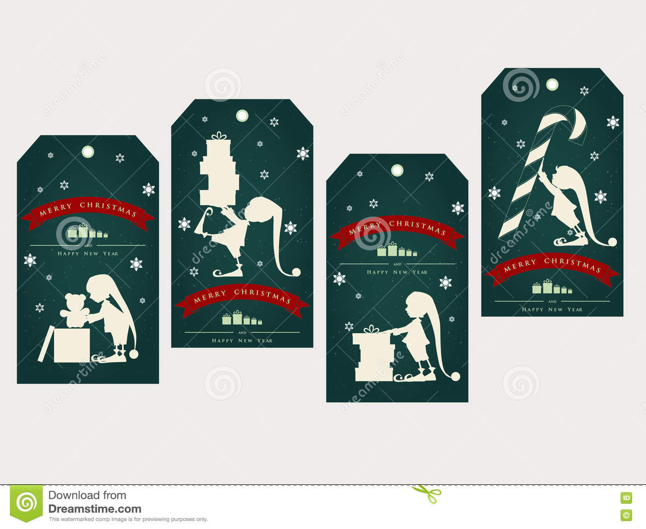 Vintage Christmas Gift Tags With Cute Elf Stock Vector ...