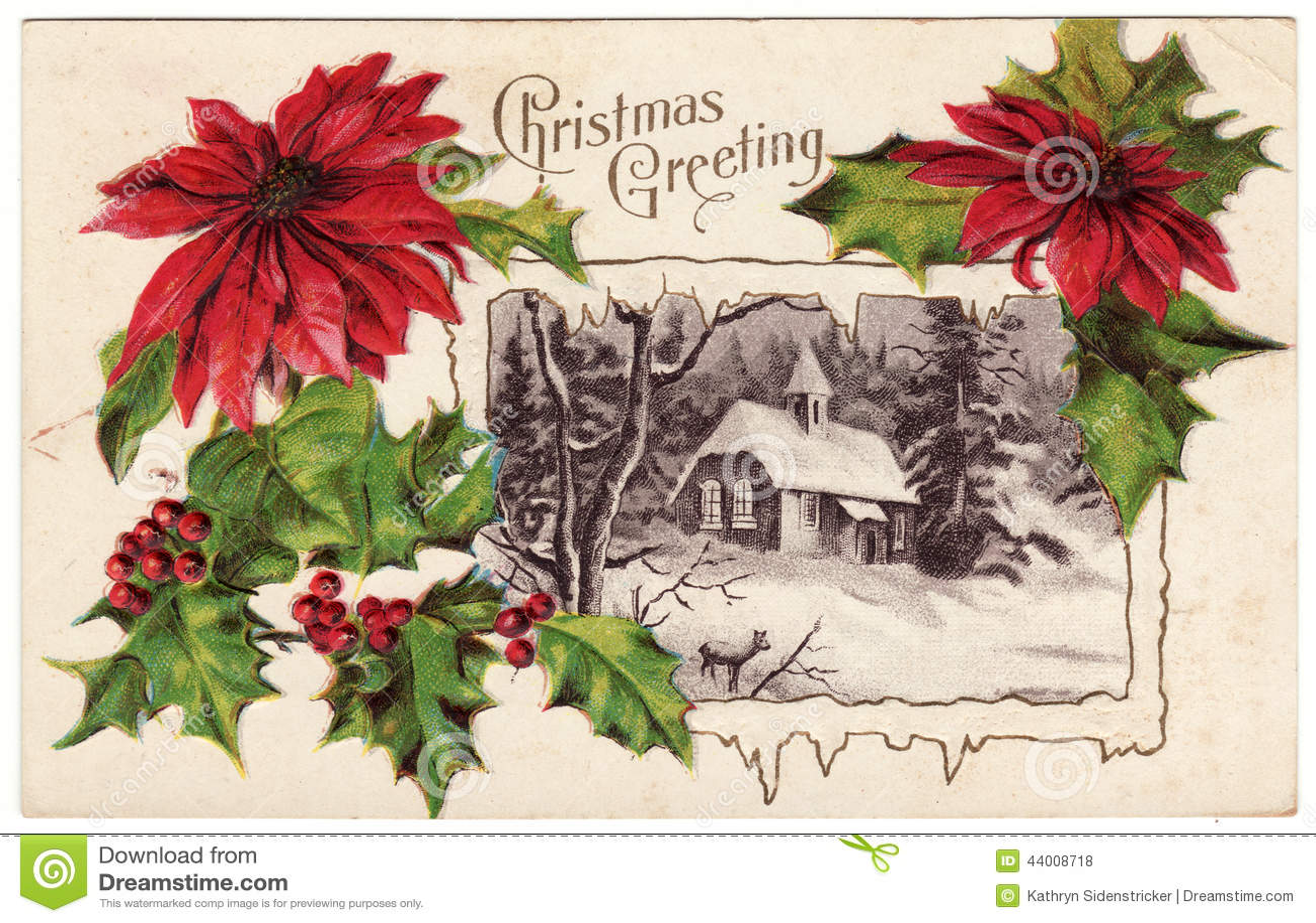 Vintage Christmas Greeting Postcard Poinsettias Stock Illustration