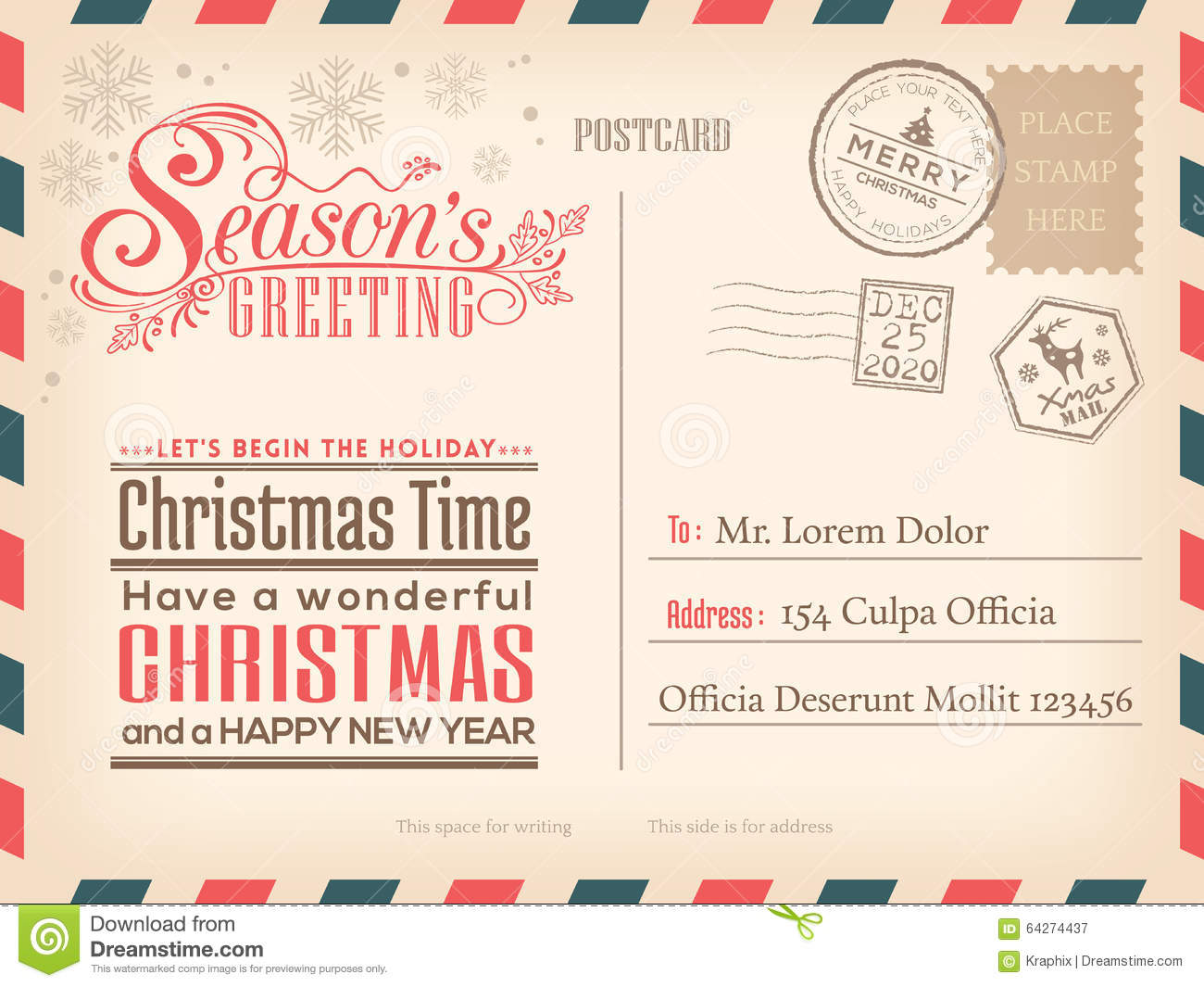 Vintage Christmas And Happy New Year Holiday Postcard Background ...