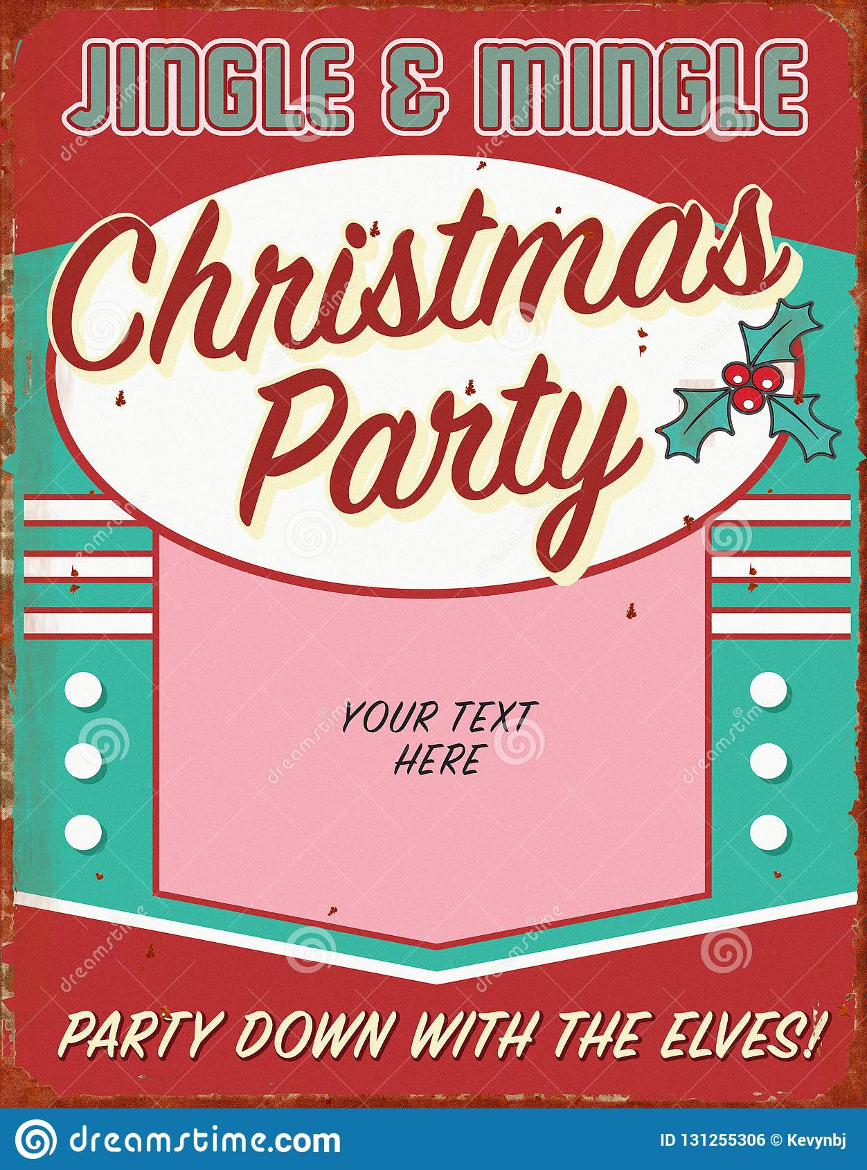 Vintage Christmas Holiday Party Invitation Retro Tin Sign Art Flyer