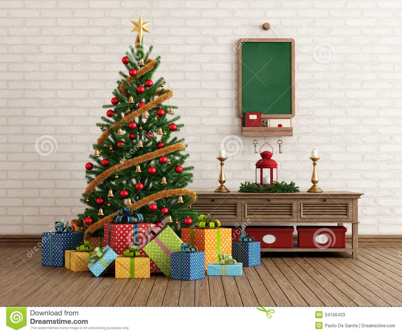 vintage christmas interior stock illustration image of gifts 34156433. Black Bedroom Furniture Sets. Home Design Ideas