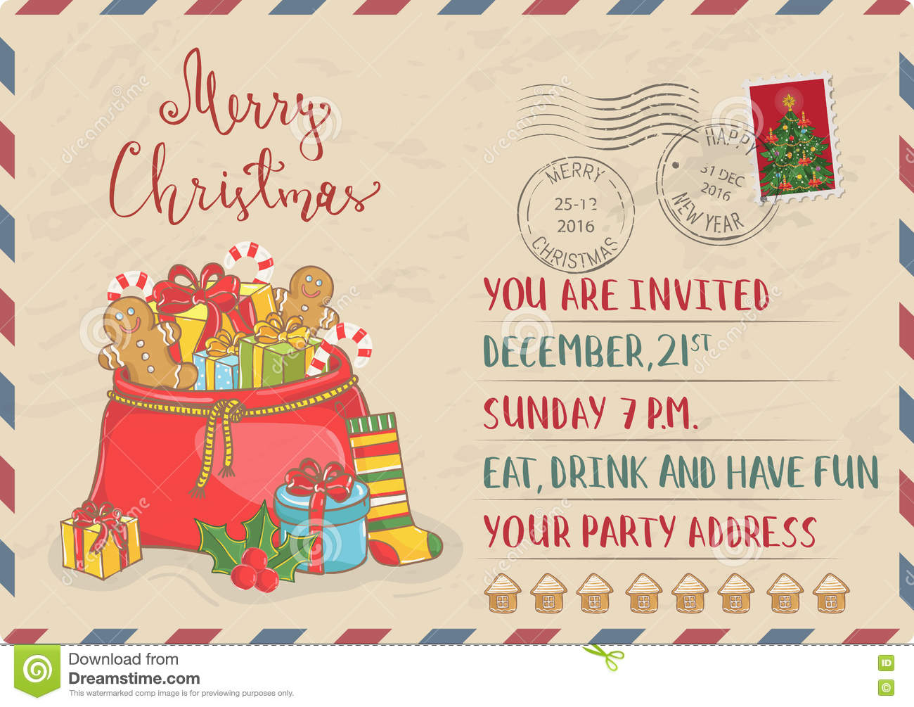 Vintage Christmas Invitation With Postage Stamps Stock Vector ...