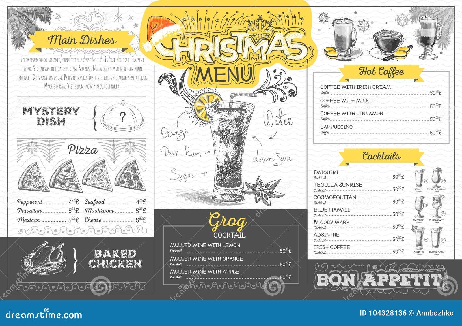 Vintage Christmas Menu Design  Restaurant Menu Stock Vector