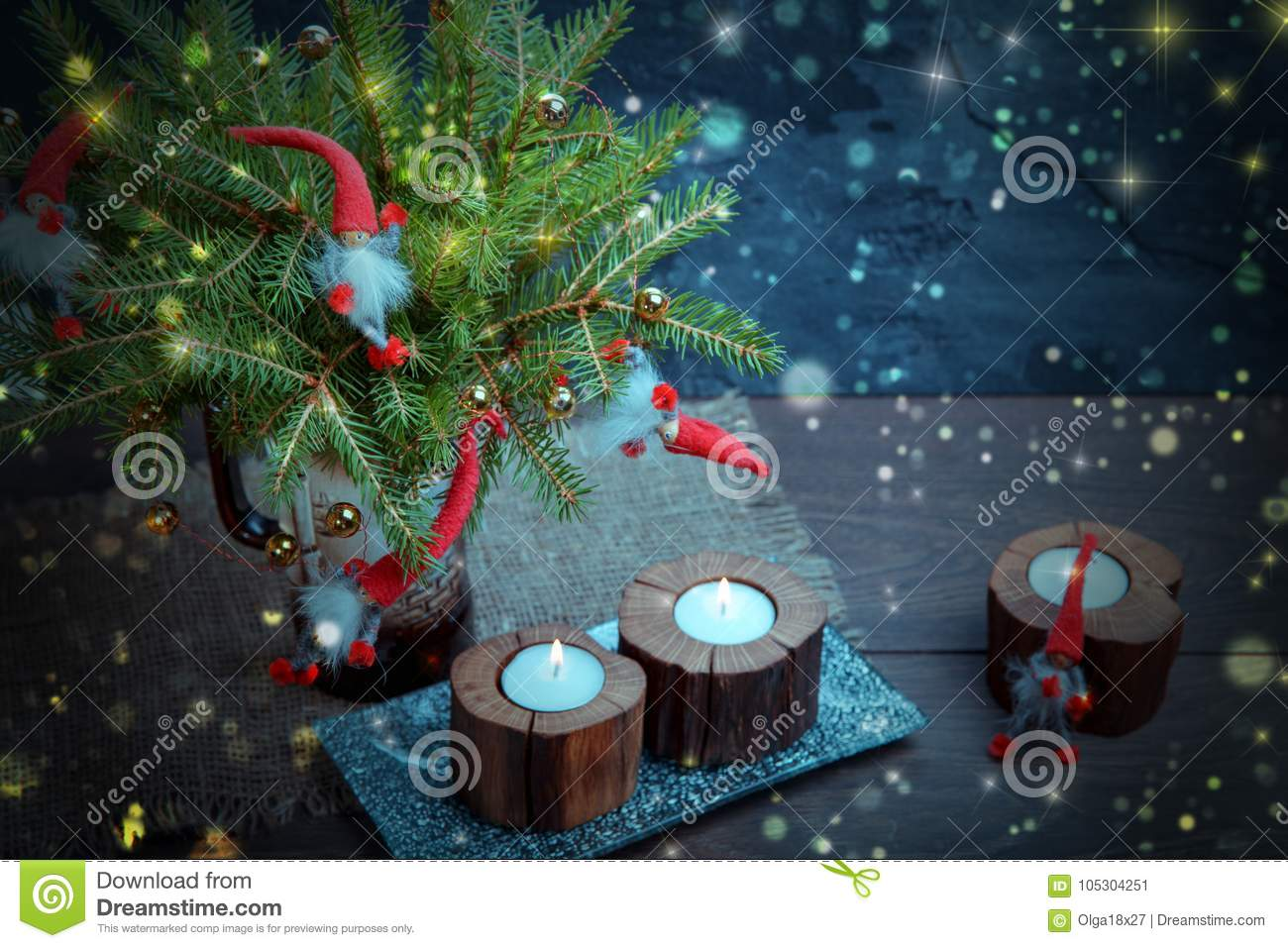 Vintage Christmas Or New Year Composition With Christmas