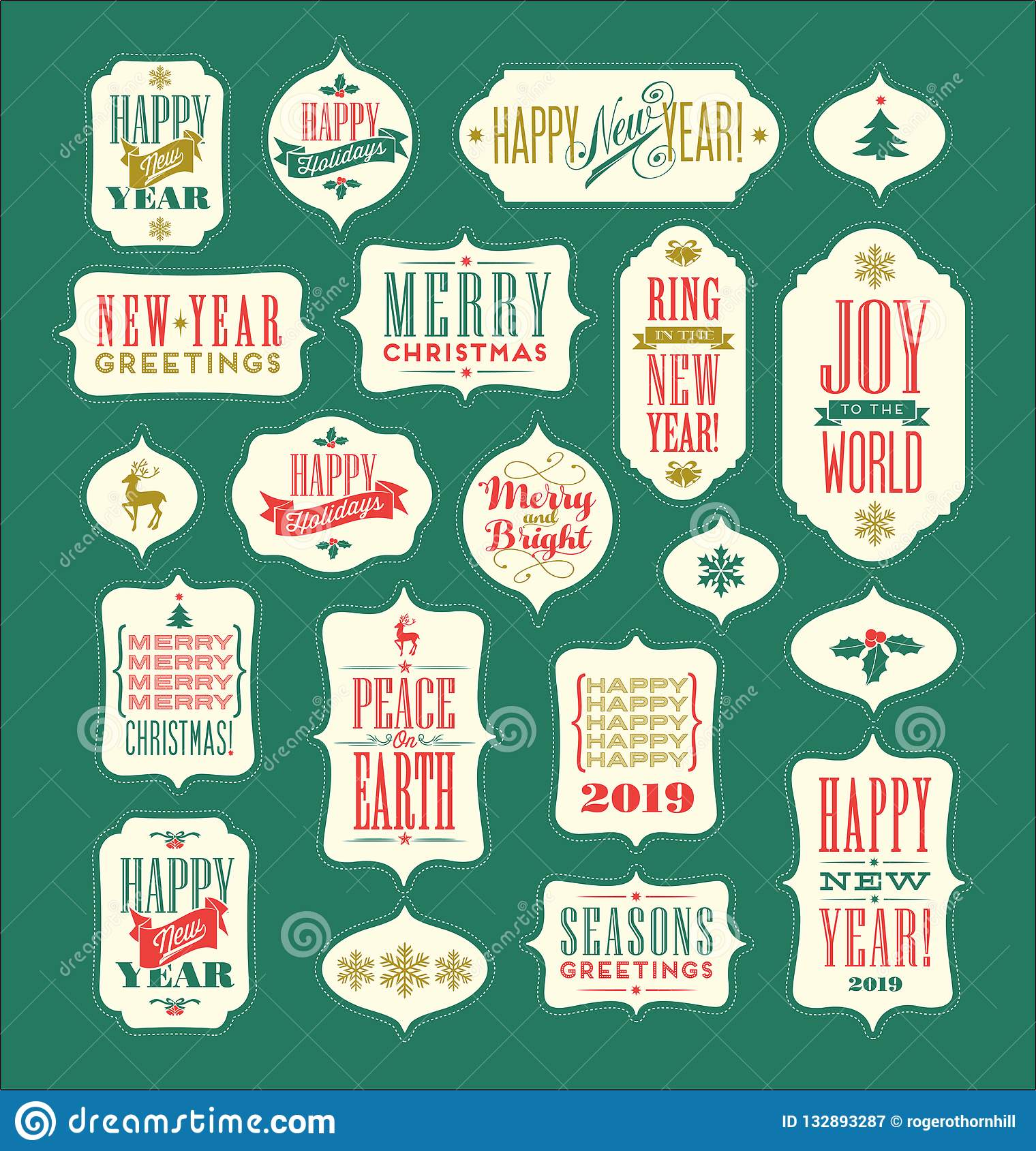 Christmas and new years holiday design elements for gift tags greeting cards banners vintage typography designs