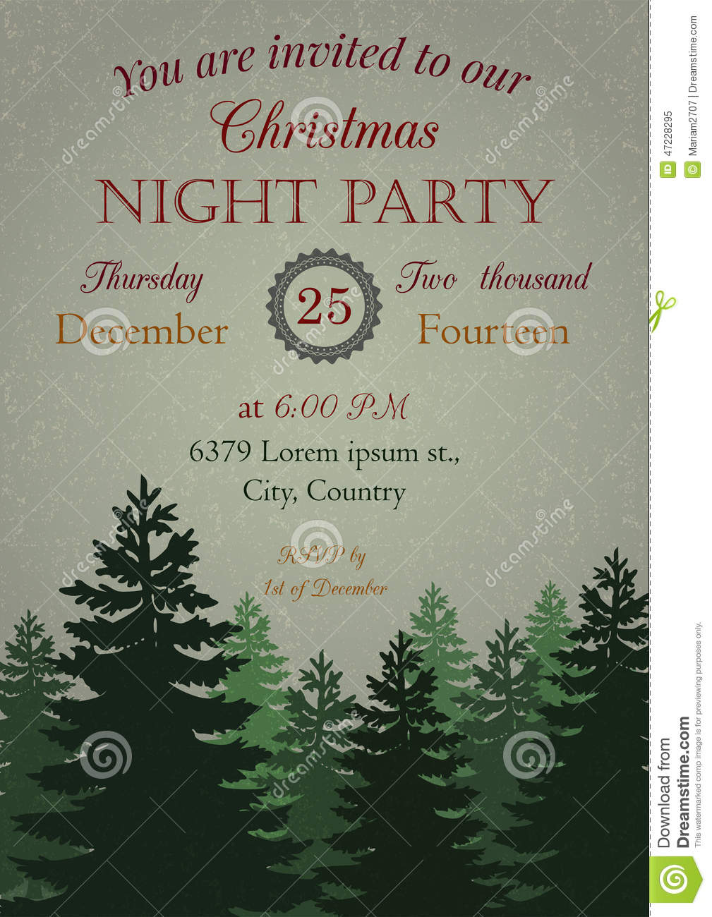 vintage christmas party invitation stock vector image  vintage christmas party invitation