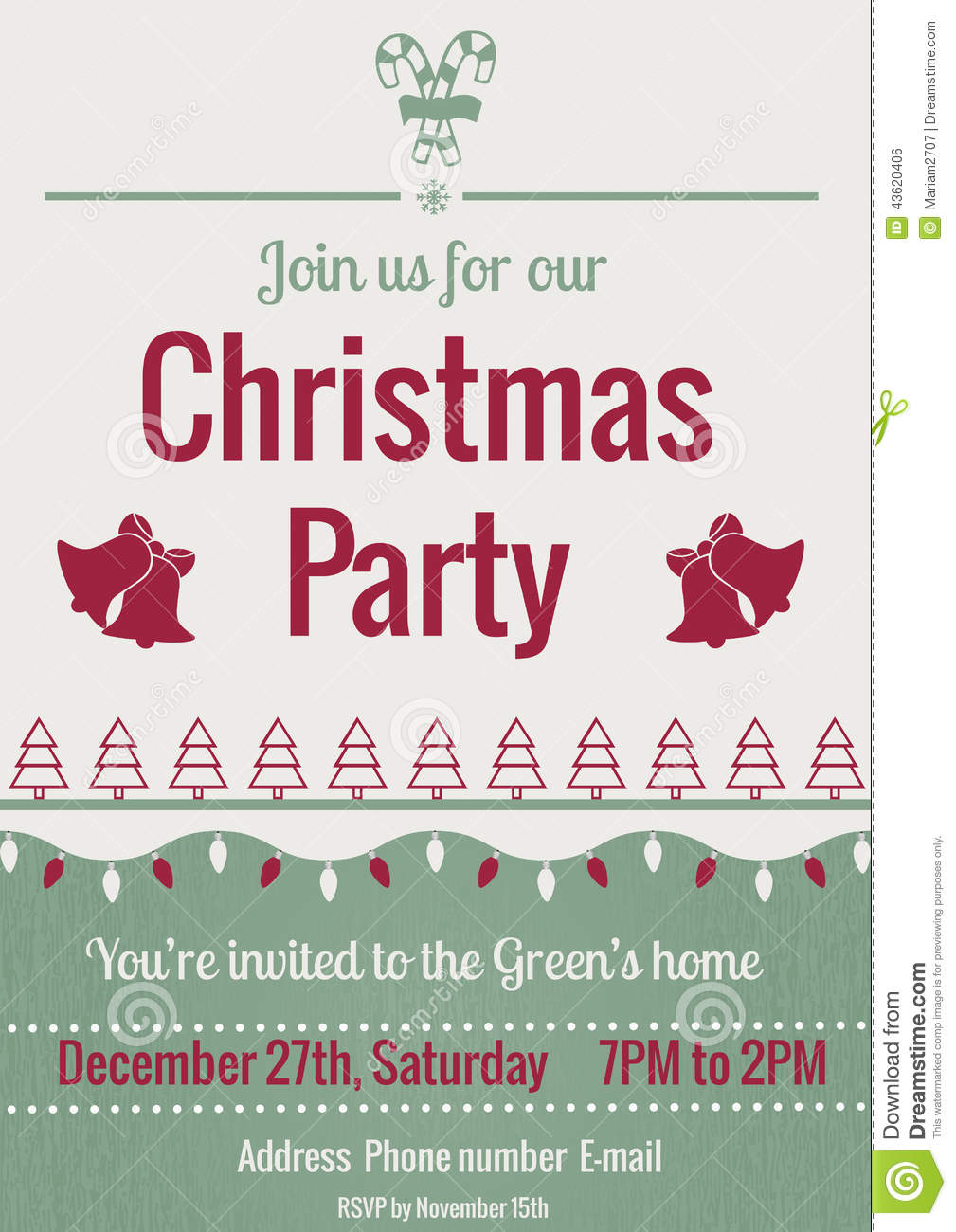 Vintage christmas party invitations - Bells Christmas Illustration Invitation Party