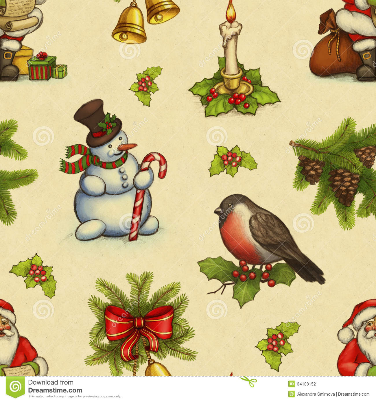 Vintage Christmas Pattern Stock Photography - Image: 34188152
